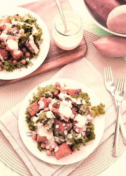 (via Roasted Sweet Potato, Chickpea & Kale Salad with Creamy Tahini Sauce The Vegan Cookbook Aficionado)