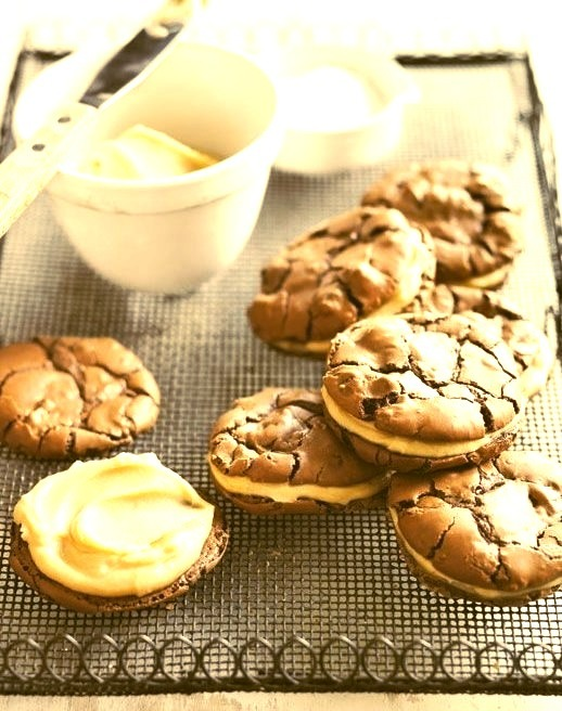 salted caramel brownie sandwich cookies.