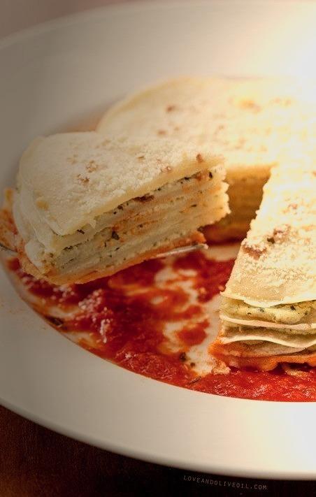 Layered Panigacci with Pesto and Ricotta